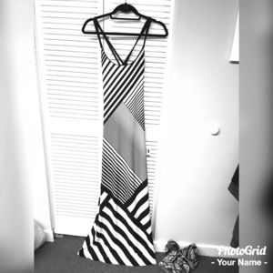 Black and white striped maxi with cross-cross back